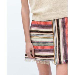 Zara Trafaluc Boho Textured Print Skirt w/ Fringe
